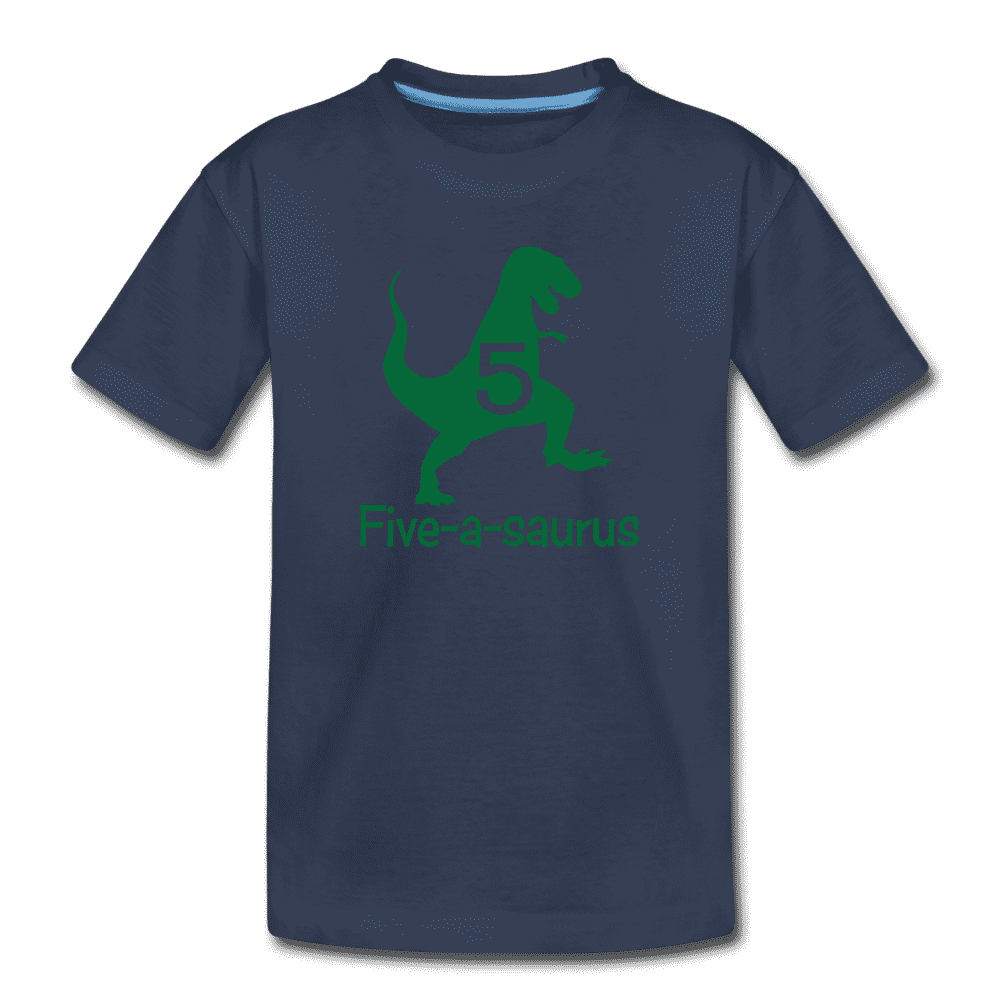 Fifth Birthday Boy Shirt, Dinosaur 5th Birthday T-Shirt, Five-A-Saurus - navy