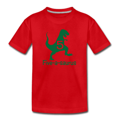 Fifth Birthday Boy Shirt, Dinosaur 5th Birthday T-Shirt, Five-A-Saurus - red