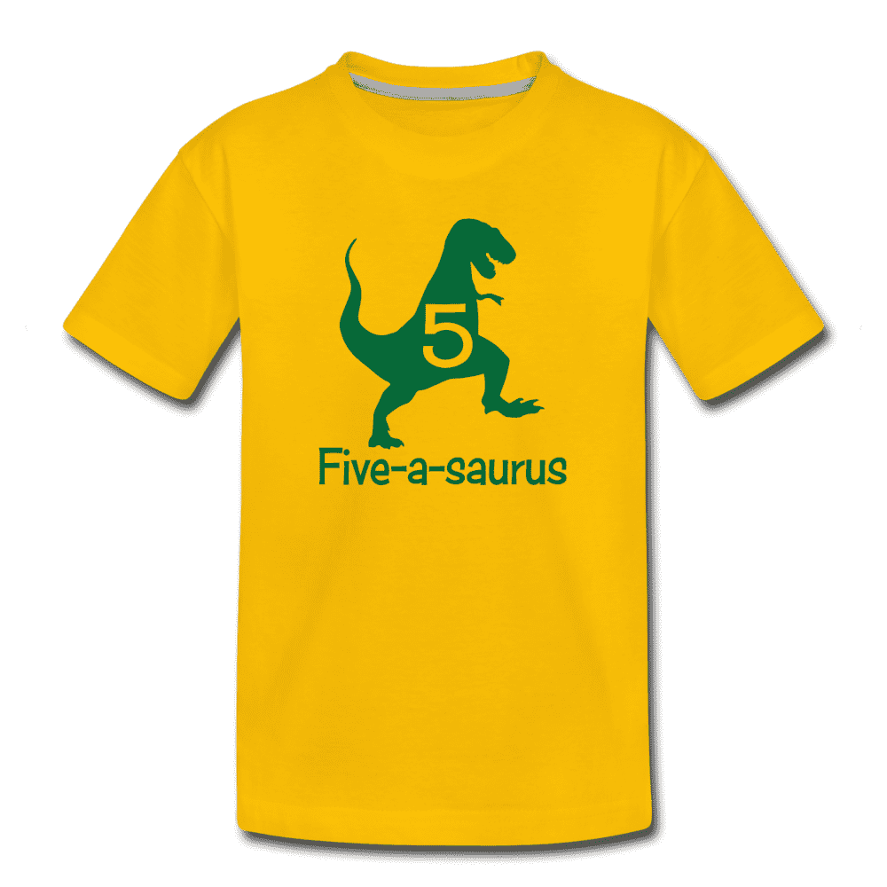 Fifth Birthday Boy Shirt, Dinosaur 5th Birthday T-Shirt, Five-A-Saurus - sun yellow