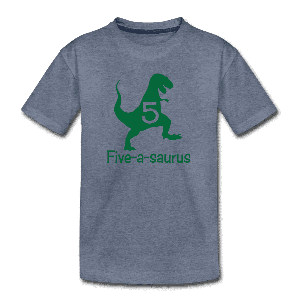 Fifth Birthday Boy Shirt, Dinosaur 5th Birthday T-Shirt, Five-A-Saurus - heather blue