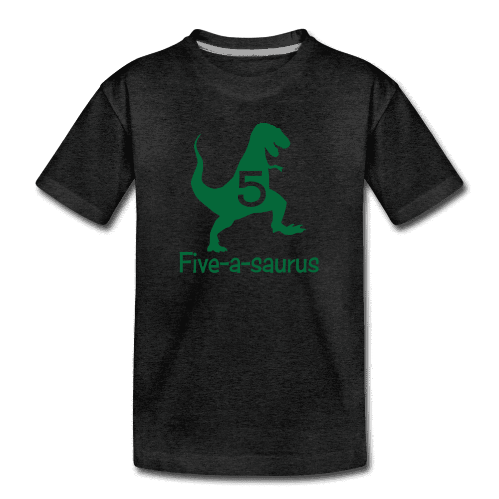 Fifth Birthday Boy Shirt, Dinosaur 5th Birthday T-Shirt, Five-A-Saurus - charcoal gray