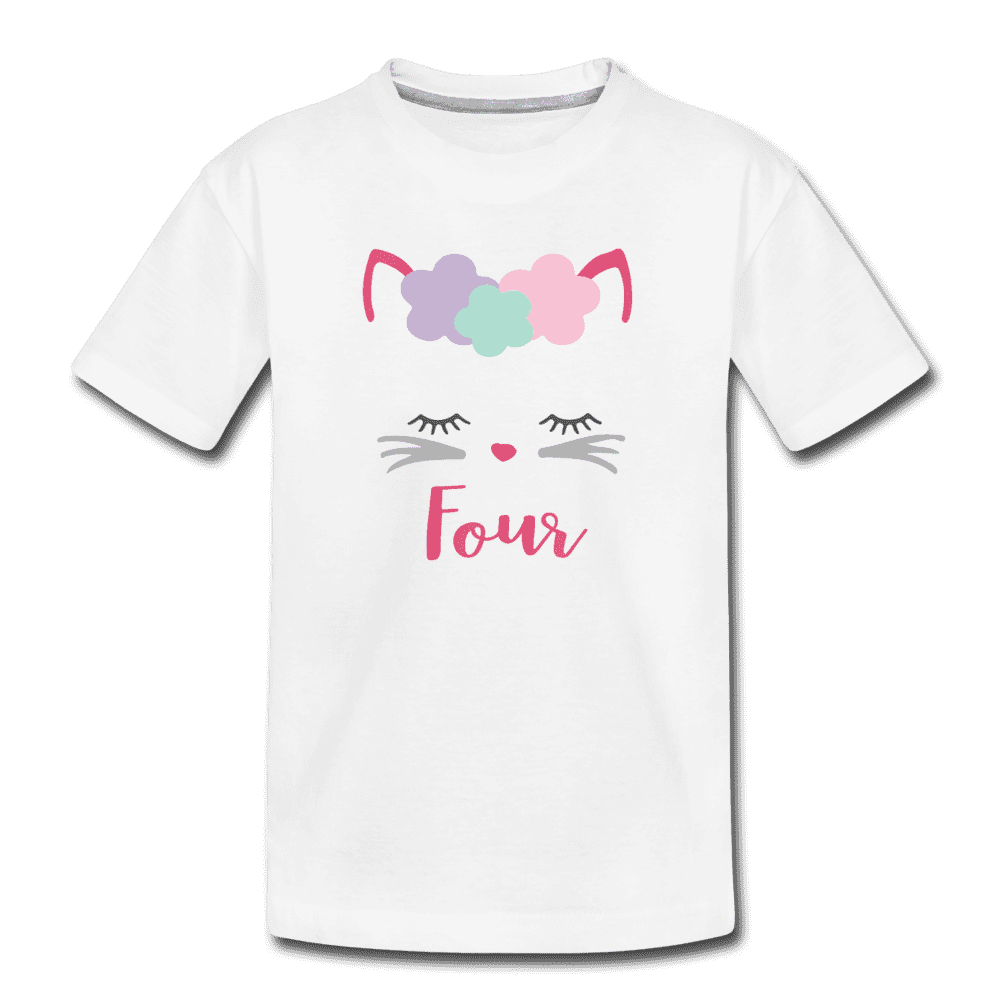 Kitty Cat 4th Birthday Party Shirt, Cute Kitten Birthday Girl Outfit, Premium Kids T-Shirt - white