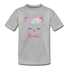 Kitty Cat 4th Birthday Party Shirt, Cute Kitten Birthday Girl Outfit, Premium Kids T-Shirt - heather gray