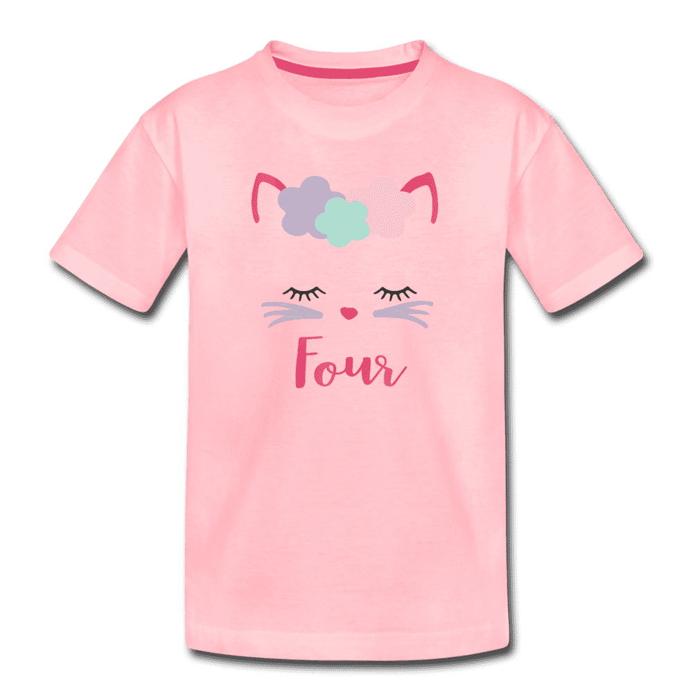 Kitty Cat 4th Birthday Party Shirt, Cute Kitten Birthday Girl Outfit, Premium Kids T-Shirt - pink