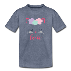 Kitty Cat 4th Birthday Party Shirt, Cute Kitten Birthday Girl Outfit, Premium Kids T-Shirt - heather blue
