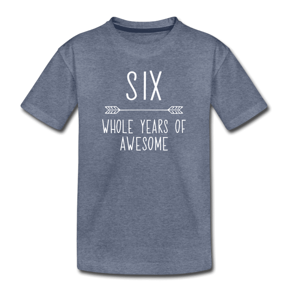 Sixth Birthday Outfit Boy Six Year Old Boy Birthday Shirt, Kids' Premium T-Shirt - heather blue