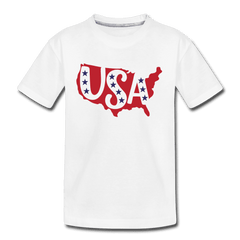 Boys and Girls Cute 4th of July USA Outfit, Kids' Premium T-Shirt - white
