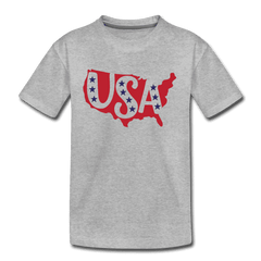 Boys and Girls Cute 4th of July USA Outfit, Kids' Premium T-Shirt - heather gray