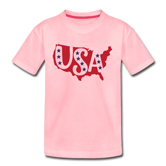 Boys and Girls Cute 4th of July USA Outfit, Kids' Premium T-Shirt - pink