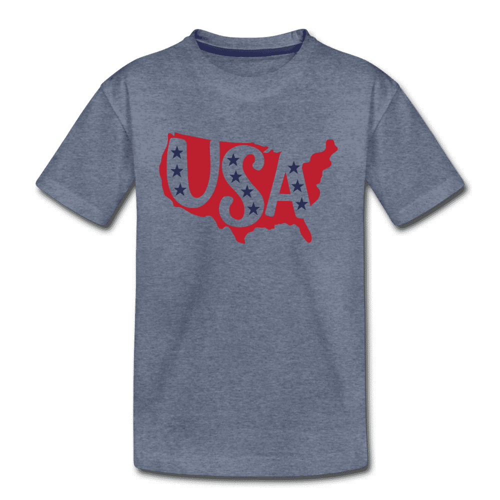 Boys and Girls Cute 4th of July USA Outfit, Kids' Premium T-Shirt - heather blue