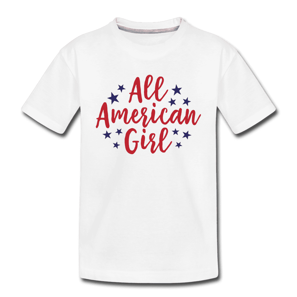 Girls Cute 4th of July Shirt, All American Girl, Kids' Premium T-Shirt - white