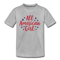 Girls Cute 4th of July Shirt, All American Girl, Kids' Premium T-Shirt - heather gray
