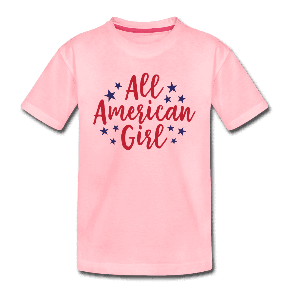 Girls Cute 4th of July Shirt, All American Girl, Kids' Premium T-Shirt - pink