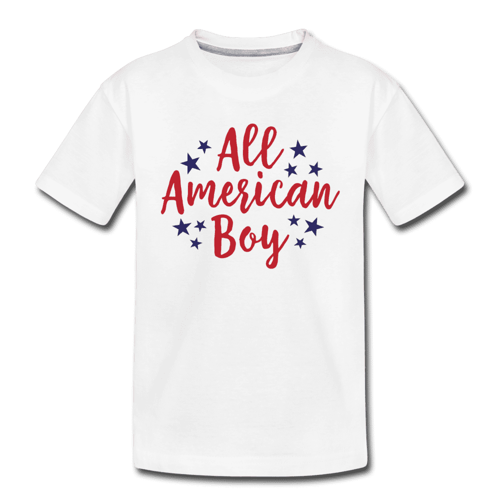 Boys 4th of July Shirt, All American Boy, Kids' Premium T-Shirt - white