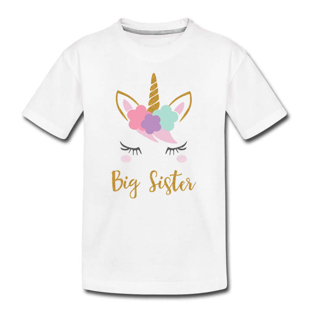 Unicorn Big Sister Shirt for Girls, Kids' Premium T-Shirt - white