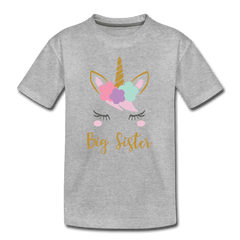 Unicorn Big Sister Shirt for Girls, Kids' Premium T-Shirt - heather gray