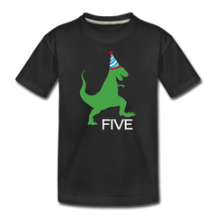 Fifth Birthday Boy Shirt, Dinosaur 5th Birthday T-Shirt, Kids Premium Shirt - black