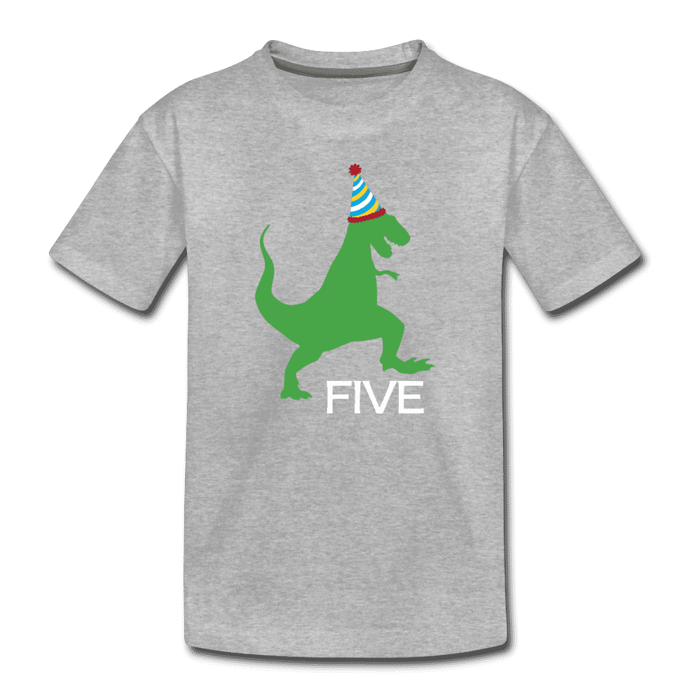 Fifth Birthday Boy Shirt, Dinosaur 5th Birthday T-Shirt, Kids Premium Shirt - heather gray