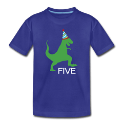 Fifth Birthday Boy Shirt, Dinosaur 5th Birthday T-Shirt, Kids Premium Shirt - royal blue