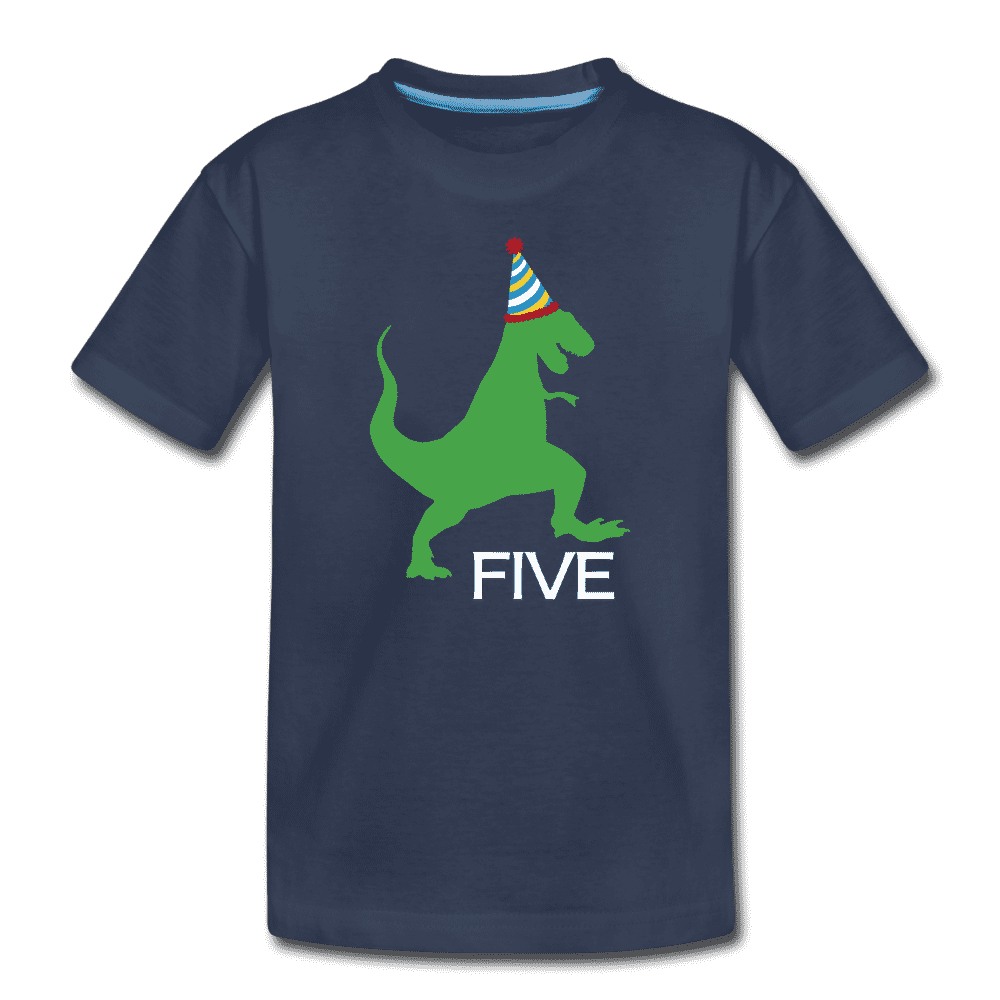 Fifth Birthday Boy Shirt, Dinosaur 5th Birthday T-Shirt, Kids Premium Shirt - navy