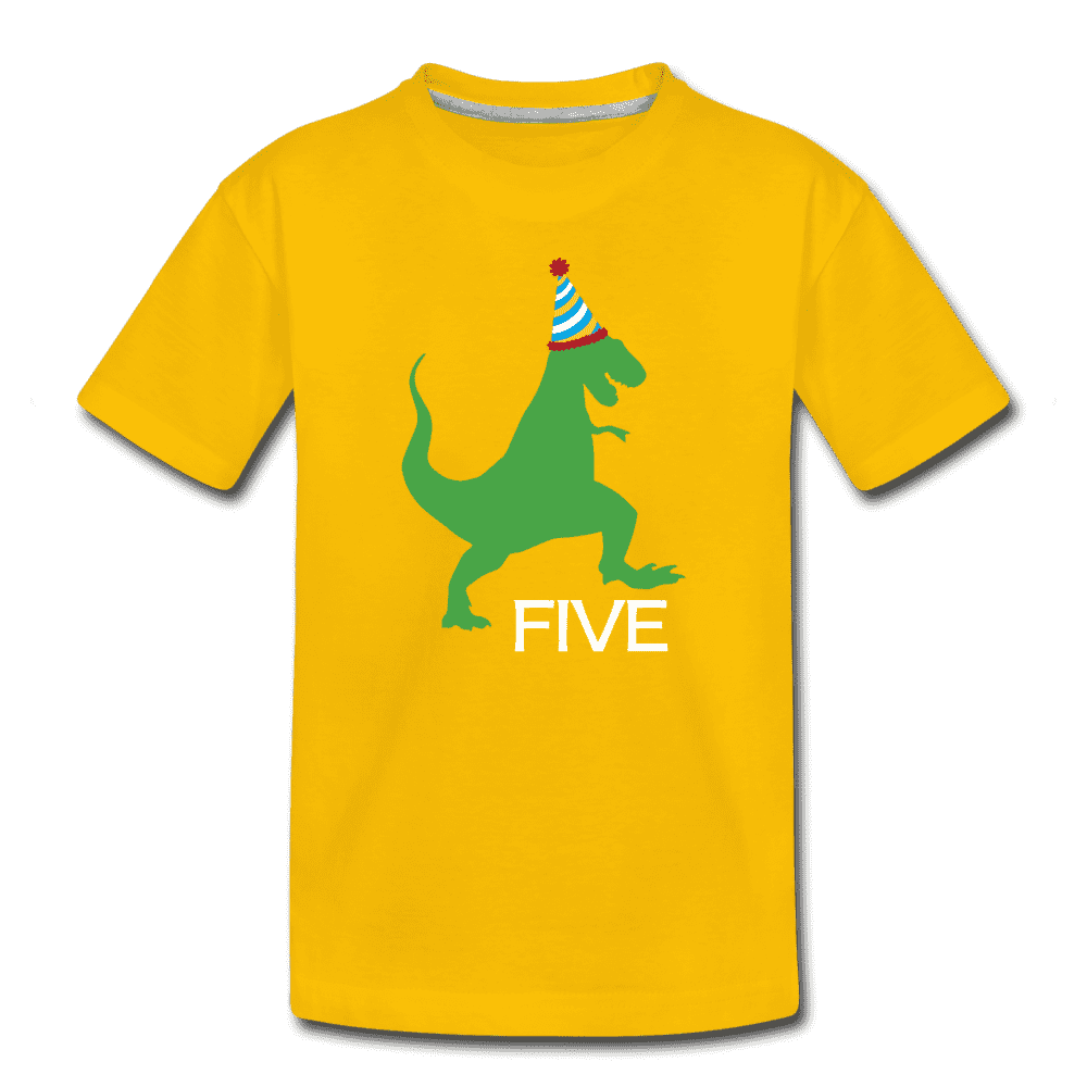 Fifth Birthday Boy Shirt, Dinosaur 5th Birthday T-Shirt, Kids Premium Shirt - sun yellow