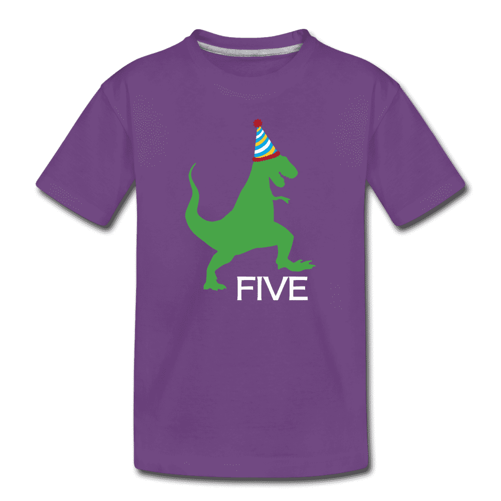 Fifth Birthday Boy Shirt, Dinosaur 5th Birthday T-Shirt, Kids Premium Shirt - purple