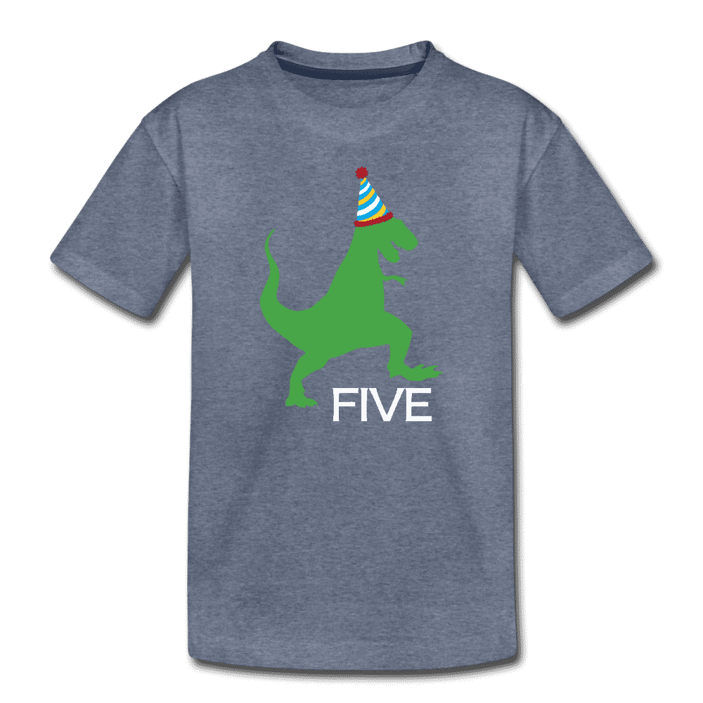 Fifth Birthday Boy Shirt, Dinosaur 5th Birthday T-Shirt, Kids Premium Shirt - heather blue