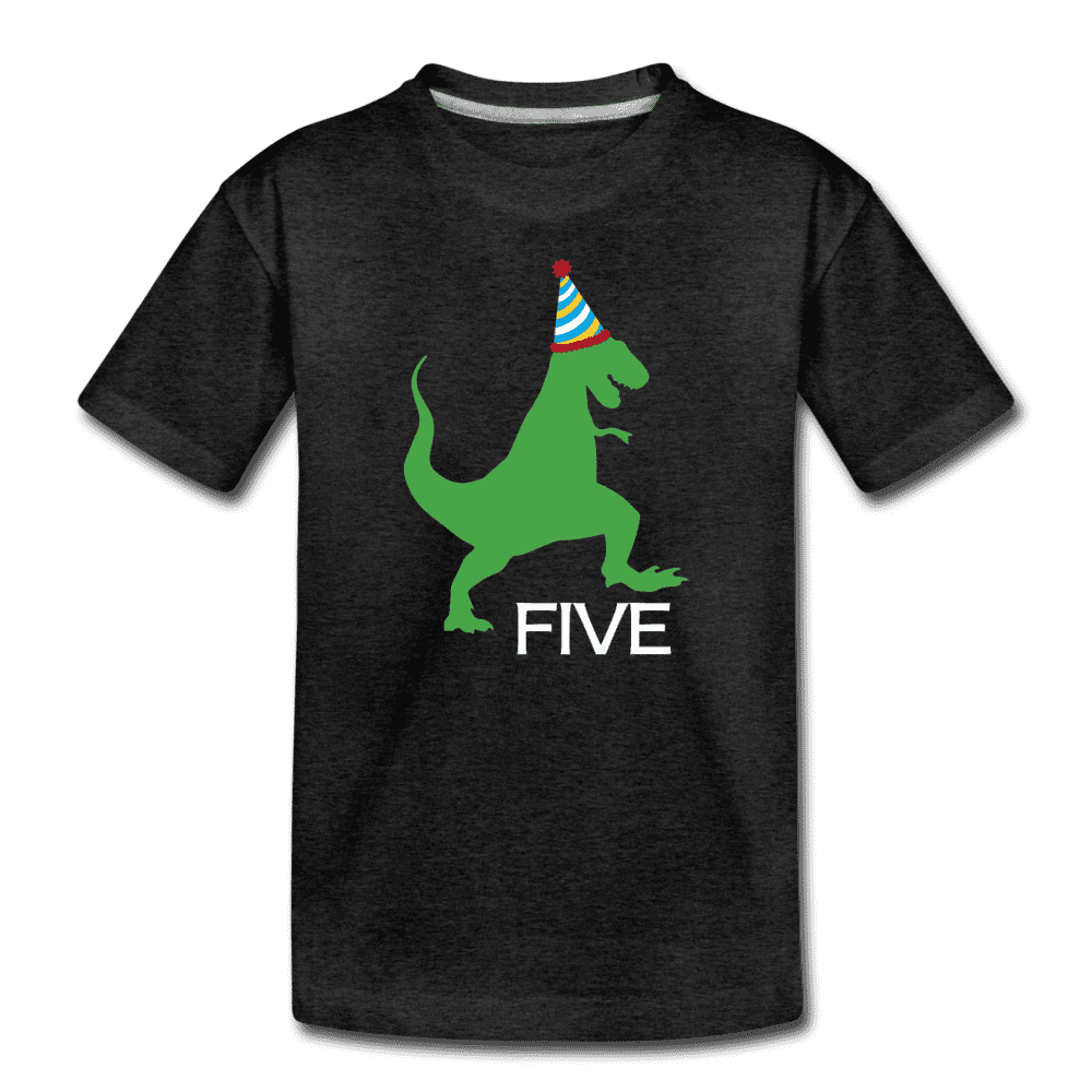 Fifth Birthday Boy Shirt, Dinosaur 5th Birthday T-Shirt, Kids Premium Shirt - charcoal gray