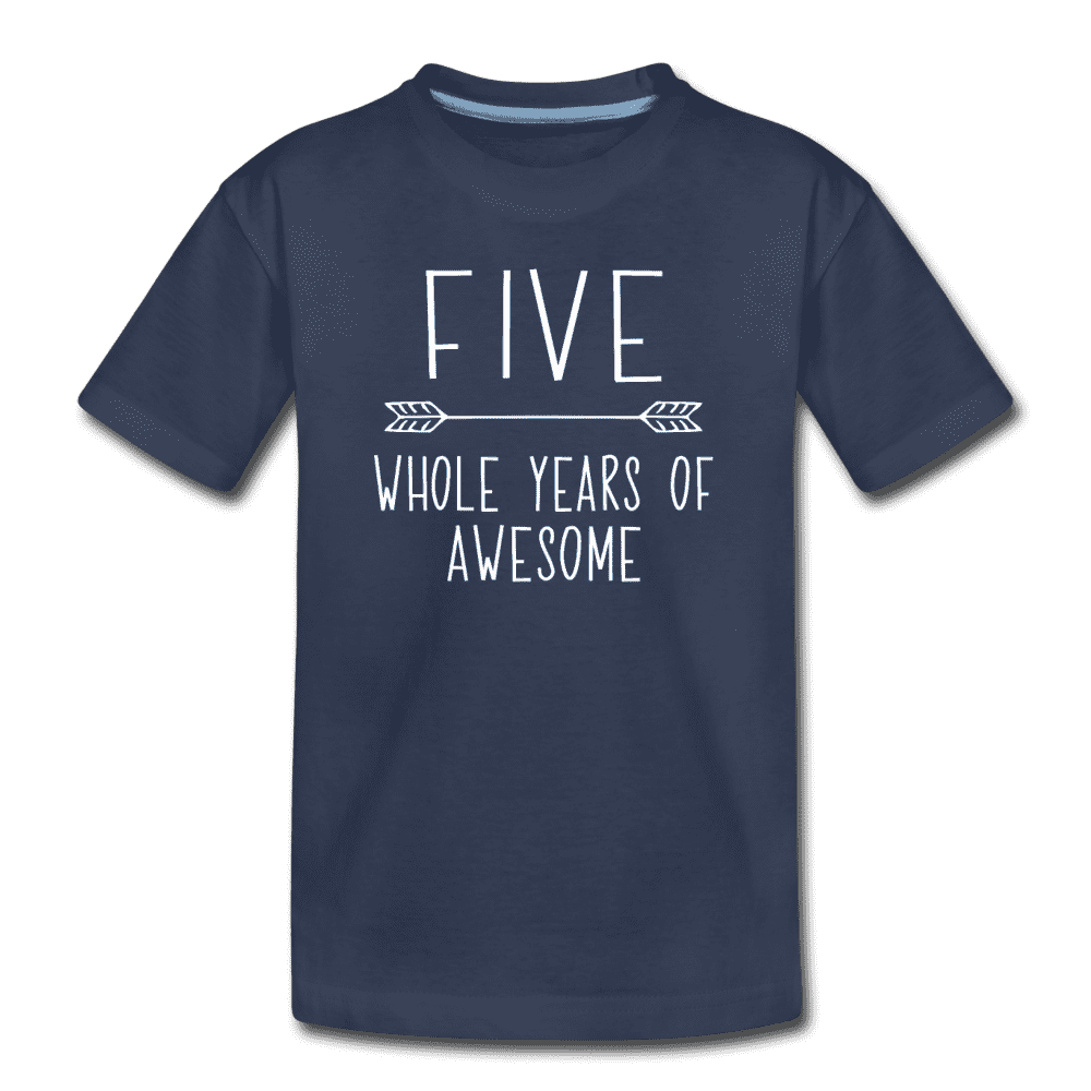 Fifth Birthday Outfit Boy Five Year Old Boy Birthday Shirt, Kids' Premium T-Shirt - navy