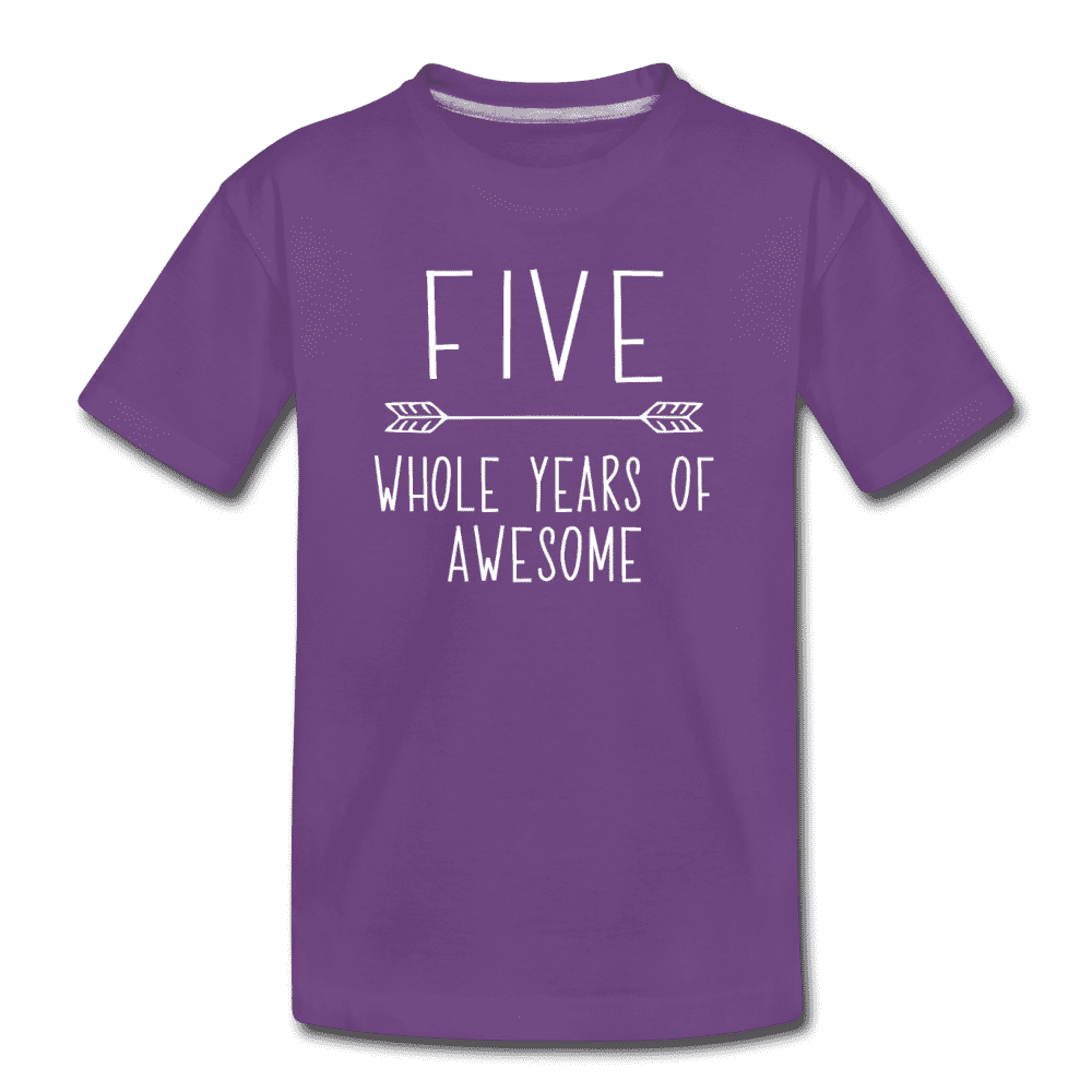 Fifth Birthday Outfit Boy Five Year Old Boy Birthday Shirt, Kids' Premium T-Shirt - purple
