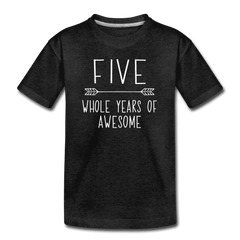 Fifth Birthday Outfit Boy Five Year Old Boy Birthday Shirt, Kids' Premium T-Shirt - charcoal gray