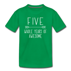 Fifth Birthday Outfit Boy Five Year Old Boy Birthday Shirt, Kids' Premium T-Shirt - kelly green