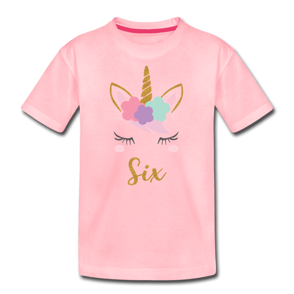 6th Birthday Girl Unicorn Shirt, Kids' Premium T-Shirt - pink