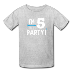 Boy 5th Birthday Shirt, I'm Five Lets Party Kids' T-Shirt Fruit of the Loom - heather gray