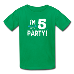 Boy 5th Birthday Shirt, I'm Five Lets Party Kids' T-Shirt Fruit of the Loom - kelly green