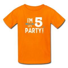 Boy 5th Birthday Shirt, I'm Five Lets Party Kids' T-Shirt Fruit of the Loom - orange