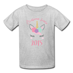 Unicorn Awesome Since 2015 Birthday Shirt, Kids' T-Shirt Fruit of the Loom - heather gray