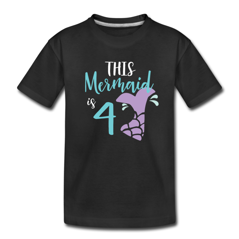 4th Birthday Girl Mermaid Shirt, Toddler Premium T-Shirt - black