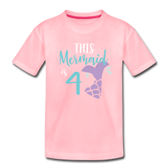 4th Birthday Girl Mermaid Shirt, Toddler Premium T-Shirt - pink