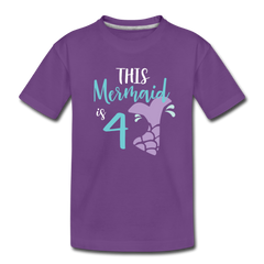 4th Birthday Girl Mermaid Shirt, Toddler Premium T-Shirt - purple