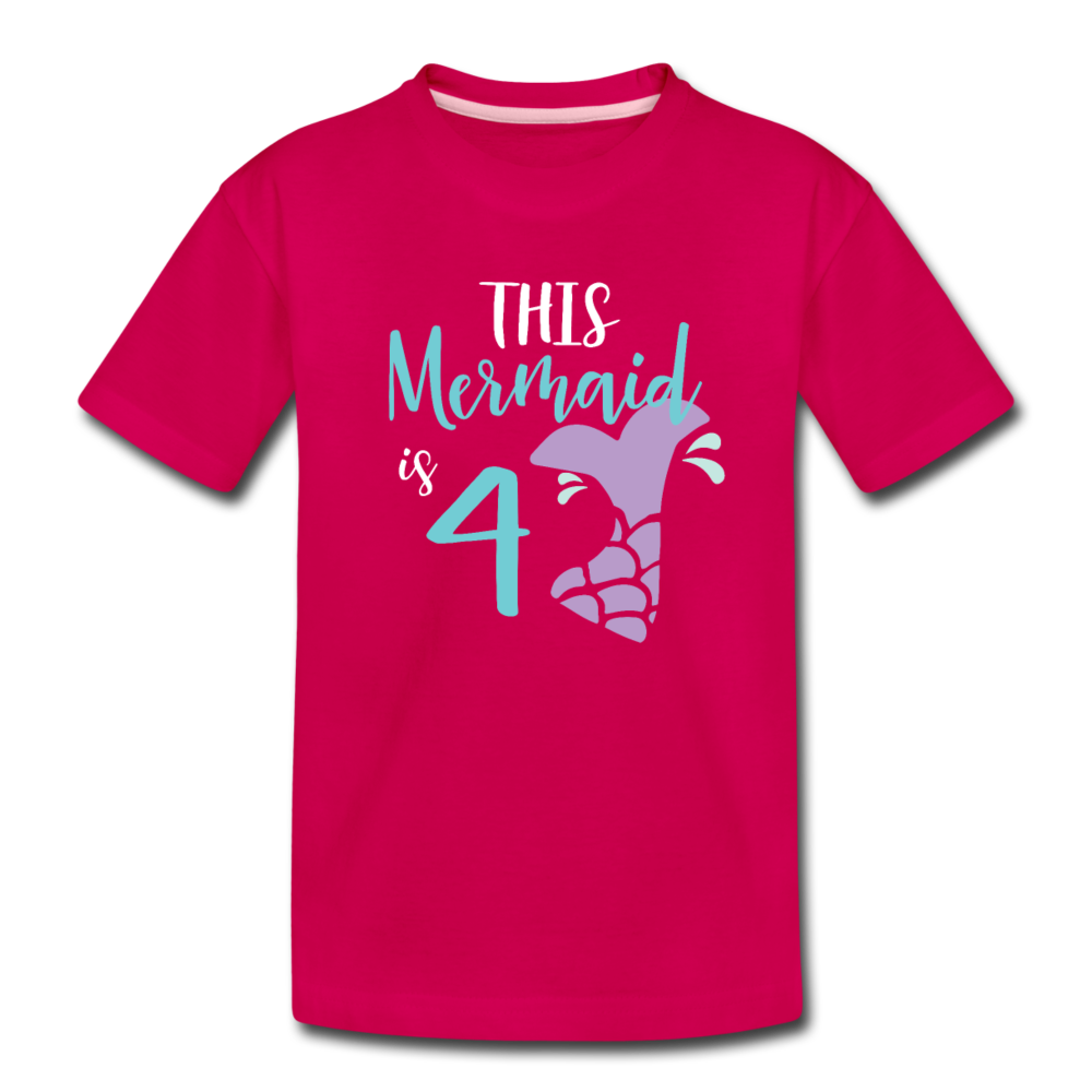 4th Birthday Girl Mermaid Shirt, Toddler Premium T-Shirt - dark pink