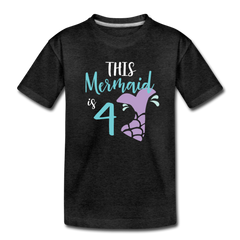 4th Birthday Girl Mermaid Shirt, Toddler Premium T-Shirt - charcoal gray