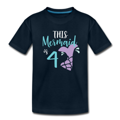 4th Birthday Girl Mermaid Shirt, Toddler Premium T-Shirt - deep navy