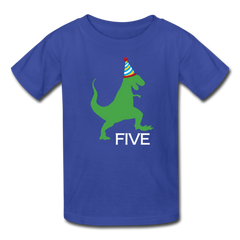 Boy 5th Birthday Dinosaur Shirt, Kids' T-Shirt Fruit of the Loom - royal blue