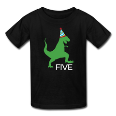 Boy 5th Birthday Dinosaur Shirt, Kids' T-Shirt Fruit of the Loom - black