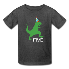 Boy 5th Birthday Dinosaur Shirt, Kids' T-Shirt Fruit of the Loom - heather black