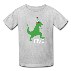 Boy 5th Birthday Dinosaur Shirt, Kids' T-Shirt Fruit of the Loom - heather gray