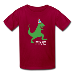 Boy 5th Birthday Dinosaur Shirt, Kids' T-Shirt Fruit of the Loom - dark red
