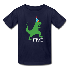 Boy 5th Birthday Dinosaur Shirt, Kids' T-Shirt Fruit of the Loom - navy