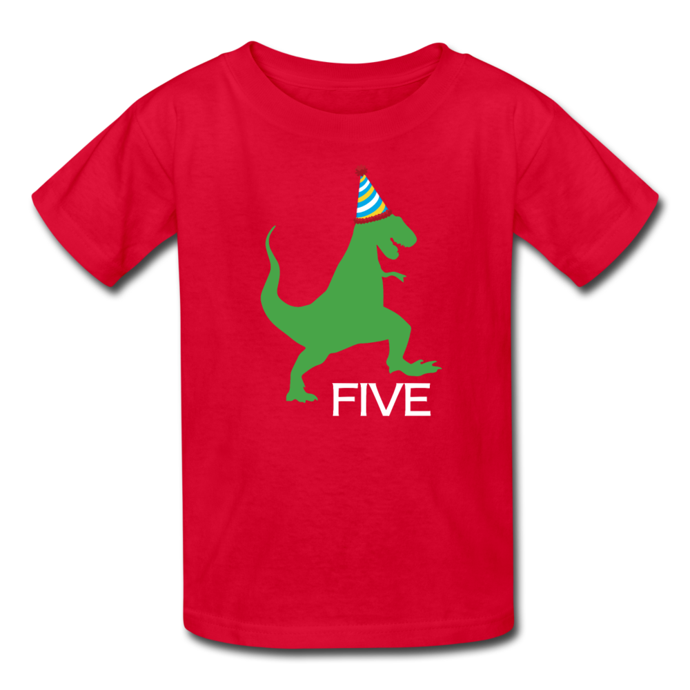 Boy 5th Birthday Dinosaur Shirt, Kids' T-Shirt Fruit of the Loom - red